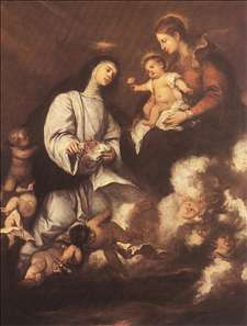 St Rose of Lima before the Madonna