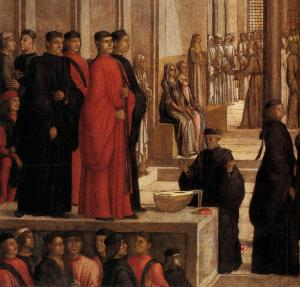 The Relic of the Holy Cross is offered to the Scuola Grande di San Giovanni Evangelista (detail)