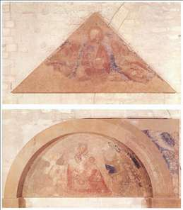 Saviour Blessing (tympanum) and Madonna of Humility (lunette)