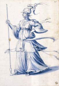 Costume drawing of a woman with lance