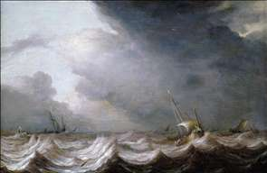 Dutch Vessels at Sea in Stormy Weather