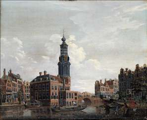 View of the Singel with the Munttoren in Amsterdam