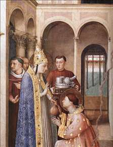 St Lawrence Receives the Treasures of the Church