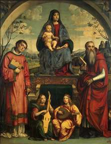 Madonna and Child with Sts Lawrence and Jerome
