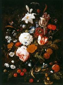 Still-Life with Flowers in a Glass Vase and Fruit