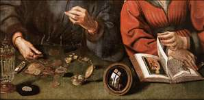 The Moneylender and his Wife (detail)