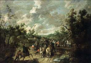A Wooded Landscape with Travellers