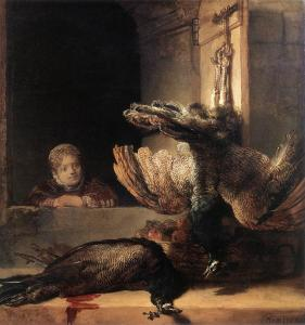 Still-Life with Two Dead Peacocks and a Girl