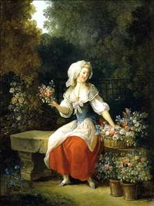 Flower-Woman in Red Apron