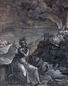 Woman Lamenting by a Burning City