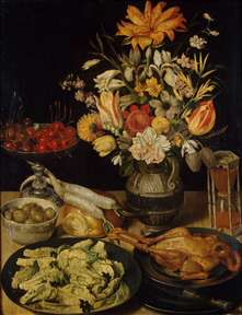 Still-Life with Flowers and Snacks