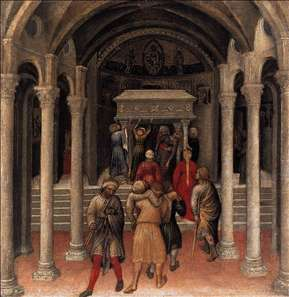 Quaratesi Altarpiece: Pilgrims at the Tomb of St Nicholas of Bari