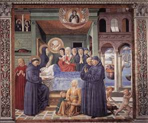 Death of St Monica (scene 13, south wall)