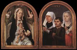 Diptych with the Virgin and Child and Three Donors