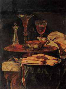 Still-Life with Crystal Glasses and Sponge-Cakes
