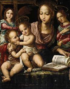 Virgin and Child with the Infant St John the Baptist, Attended by Angels