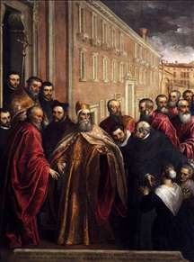 Pasquale Cicogna in Dogal Robes Visiting the Church and Hospital of the Crociferi
