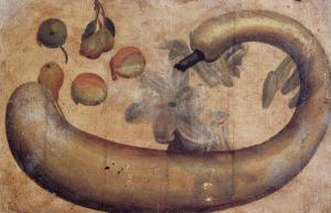 Still-Life of Squash, Lilies, Peaches, and Pears
