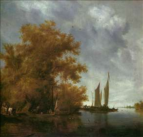 River Landscape with Boats