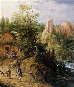 Mountain Valley with Inn and Castle
