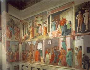 Frescoes in the Cappella Brancacci (right view)
