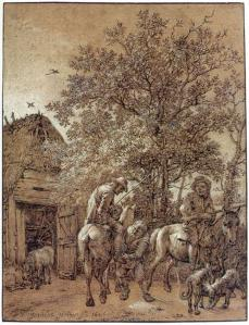Horsemen near a Barn