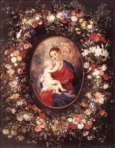 The Virgin and Child in a Garland of Flower