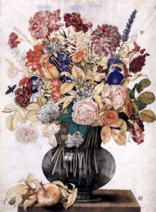 Vase with Flowers, a Peach and a Butterfly