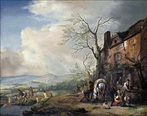 Landscape with Peasants by a Cottage