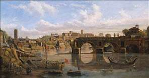 Rome: View of the River Tiber with the Ponte Rotto and the Aventine Hill