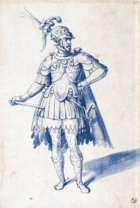 Costume drawing for man-at-arms