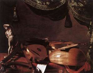 Still-Life with Musical Instruments and a Small Classical Statue