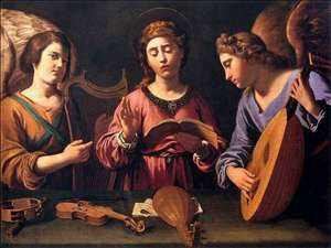 St Cecilia with Two Angels