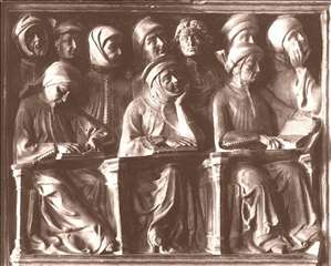 Students, detail of the Tomb of Giovanni da Legnano