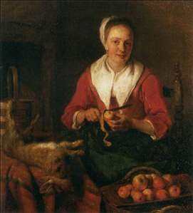 Woman Peeling an Apple