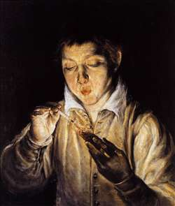A Boy Blowing on an Ember to Light a Candle (Soplón)