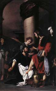 St Augustine Washing the Feet of Christ
