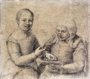 Old Woman Studying the Alphabet with a Laughing Girl