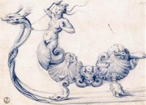 Sketch for a sleigh with figures of sirens