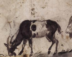 Study of Grazing Goats (verso)