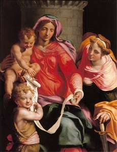 Madonna with Child, Sts Giovannino and Barbara