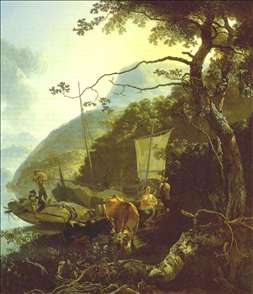 Boatmen Moored on the Shore of an Italian Lake