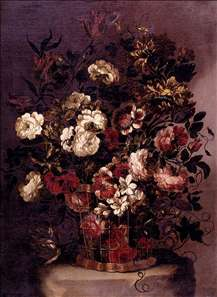 Still-Life of Flowers in a Woven Basket