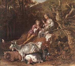 Landscape with Shepherdess Shepherd Playing Flute
