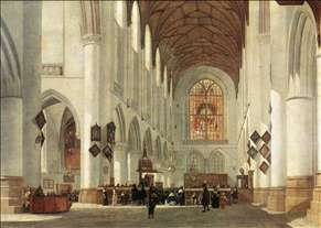 Interior of the St Bavo Church at Haarlem