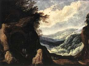 Rocky Landscape with Monks