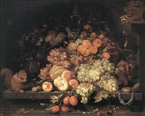 Fruit Still-Life with Squirrel and Goldfinch