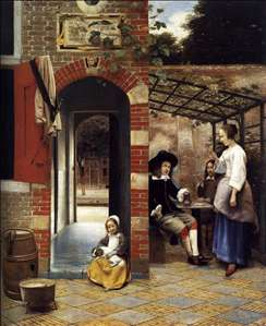 Figures Drinking in a Courtyard