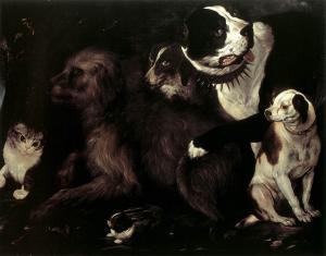 Portrait of Dogs with a Cat and a Rabbit