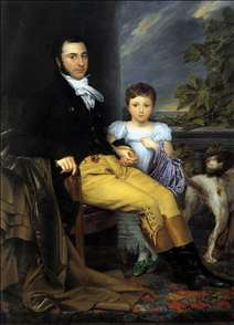 Portrait of a Prominent Gentleman with his Daughter and Hunting Dog